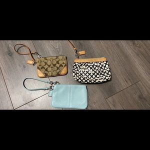 3 authentic Coach wristlet bags